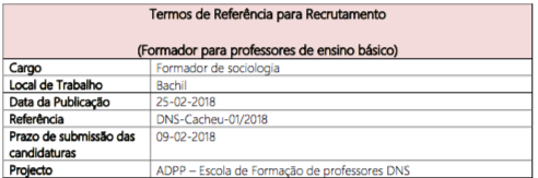 Recrutamento de Professor de Sociologia